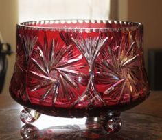 """Huge"" Bohemian Cranberry Red Cut to Clear Dzyr Lead Crystal Bowl | eBay"