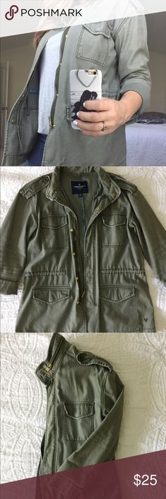 || American Eagle Outfitters || Utility Jacket || Details || Mid weight, muted olive oversized AE utility jacket. Size is listed as a medium, but this jacket definitely fits more like a large or even an extra large.   || Condition || Gently loved, no visible signs of wear.  Offers welcome.🌿 American Eagle Outfitters Jackets & Coats Utility Jackets
