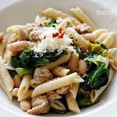 Pasta with Italian Chicken Sausage, escarole and beans