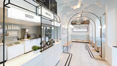 Milk Train Arrives in Londons Covent Garden in Art Deco Playfulness Retail Interior Design, Restaurant Interior Design, Commercial Interior Design, Cafe Interior, Commercial Interiors, Cafe Design, Store Design, Brand Design, Design Comercial