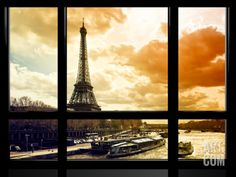 Window View, Special Series, Eiffel Tower and the Seine River at Sunset, Paris, France, Europe Photographic Print by Philippe Hugonnard at Art.com