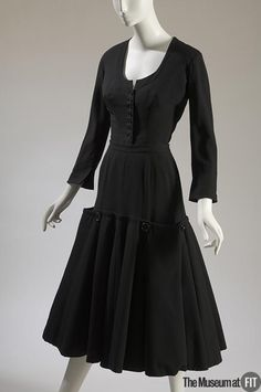 1947, France - Two-piece dress by Jacques Fath - black wool twill