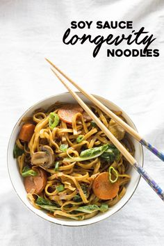 ONE PAN longevity noodles marinated in soy sauce+sesame oil. Ready in 30 minutes! | thealmondeater.com