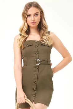 fb8fe5625da Belted Button-Front Mini Dress. Forever 21 ...