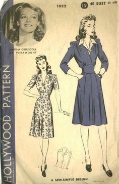 This 1940s Hollywood pattern features a fitted midriff belt with back ties, a V-neckline created by the crossover bodice and softly gathered shoulder...