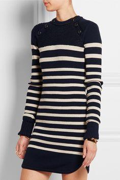 the buttons at the neck...Isabel Marant|Mini-robe pull en laine mérinos mélangée à rayures Haeza|NET-A-PORTER.COM