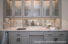 Veranda Paris Gray Quartz & Mirror Tile | Tilebar.com Mirror Backsplash Kitchen, Grey Kitchen Cabinets, Mirror Tiles, Mirror Mosaic, Shower Mirror, Backsplash Panels, China Cabinets, Mirror Glass, Backsplash Ideas