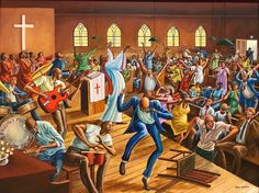 An original work of art by the talented Ernie Barnes. He was the first professional athlete to have a noted art career. Many should know that he was the creative force behind all of JJ's art on Good Times. Known for the elongated people and movement in his works of art. #africanamericanart #blackart #blackchurch #church...