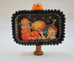 Vintage-look Halloween Jack O'Lantern Altered Altoid Tin