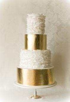 white ruffle and gold cake | white magazine