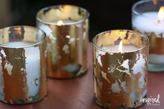 Votive Candles Citronella Candles Gold Leaf Diy Candles