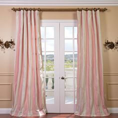Exclusive Fabrics Pink And Cream Ivory Striped Faux Silk Taffeta Curtain Panel 108