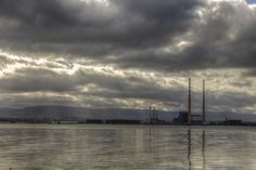 Poolbeg Chimneys from North Bull Island, Clontarf, Dublin, Ireland