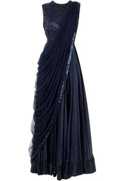 lovely midnight blue J BY JANNAT Blue anarkali with draped dupattaBlue anarkali with draped dupatta 😍 gorgeous evening gown in my opinion.J By Jannat Collection: Buy J By Jannat Designer Dresses i. Indian Gowns, Indian Attire, Indian Wear, Saree Gown, Sari Dress, Indian Wedding Outfits, Indian Outfits, Red Lehenga, Anarkali