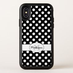 Trendy Black and White polka dots pattern Monogram OtterBox Symmetry iPhone X Case - vintage gifts retro ideas cyo