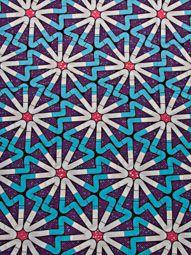 Tissus africains supérieur wax imprimé motif géométrique blanc bleu swa6331
