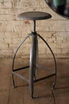 Metal Stool with Adjustable Top- Raw Seat with Raw Base