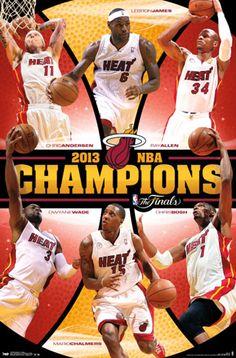 Miami Heat 2013 NBA CHAMPIONS Commemorative Action Poster - Lebron James, Dwyane Wade, Chalmers, Allen, Anderson, Bosh - $10.95