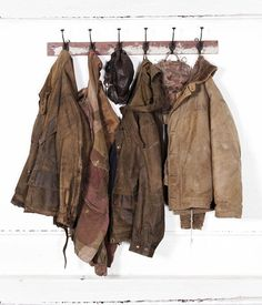 For the creepy old man, something neutral-colored, worn, large. With a red sweater or sweatshirt underneath. Lots of layers. Nothing too bright.