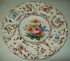 LARGE WALL HANGING PLATE HAND PAINTED MARKED ITALY LATTICE DESIGN $32 - ebay