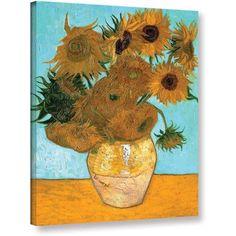Vangogh Vase With Twelve Sunflowers Wrapped Canvas Art, Size: 24 x 32, Blue