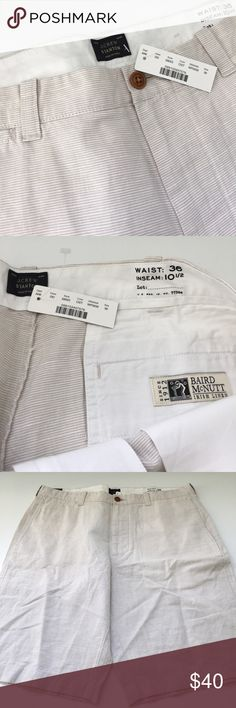 """Men's J. Crew Linen """"Stanton"""" short NWT. Men's J. Crew linen """"Stanton"""" short. Waist: 36 Inseam: 10 1/2. Really nice shorts-- bought them for my husband and they're the wrong size. Perfect condition. 72% cotton and 28% linen. They're a neutral color-- a very light tan with a faint stripe. They literally go with everything and are really nice shorts. J. Crew Shorts Flat Front"""