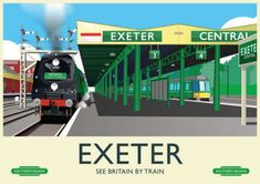 Exeter, Devon, UK. A retro railway poster style creation by Anything From The Trolly. Travel Ads, Train Travel, Railway Posters, Train Posters, Heritage Railway, Southern Railways, Vintage Travel Posters, Exeter Devon, Devon Uk