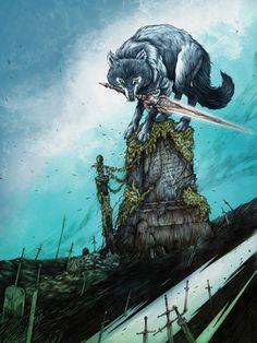 Great Grey Wolf Sif by Glenn Harvey - Dark Souls