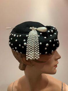 Crazy Hat Day, Crazy Hats, Black Felt, Black Wool, Felt Hat, Wool Felt, Vintage Hats, Vintage Style, Ivory Fascinator