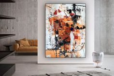 Original Abstract Canvas Art-Large Acrylic Painting Home image 4 Abstract Landscape Painting, Abstract Canvas Art, Oil Painting On Canvas, Colorful Paintings, Contemporary Paintings, Office Wall Art, Modern Wall Decor, Texture Art, Original Art