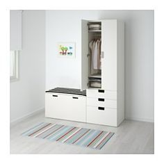 """IKEA - STUVA, Storage combination with bench, white/blue, 59x19 5/8x75 5/8 """", , Deep enough to hold standard-sized adult hangers.Doors with silent soft-closing damper.Stands evenly on an uneven floor; adjustable feet included.The doors have rounded corners and a cut-out handle with smooth edges."""