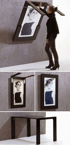 Life Hacks For Living Large In Small Spaces 2019 DIY Folding Table Doubles As Picture Frame. This would be great in a small kitchen or a playroom for kids! The post Life Hacks For Living Large In Small Spaces 2019 appeared first on Furniture ideas. Smart Furniture, Space Saving Furniture, Furniture Design, Furniture Ideas, Folding Furniture, Furniture Stores, Kitchen Furniture, Apartment Furniture, Apartment Kitchen