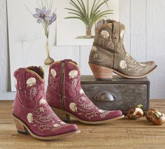 Cotton Flower Boots - These kicky leather boots by Liberty Black showcase embroidered details with Western allure.