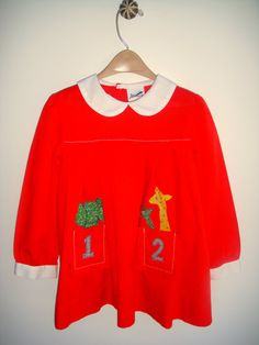 Baby Girl Clothes School Dress Vintage Red by StarGlowVintage