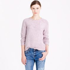 A cozy sweater inspired by old-school athletic jerseys but made from pretty marled yarns for a girly twist.