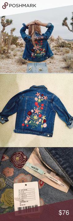 UO Embroidered Woodstock Denim Jacket From UO Kimchi Blue. Dark washed Denim  with embroidered flowers 6ad7ca581b