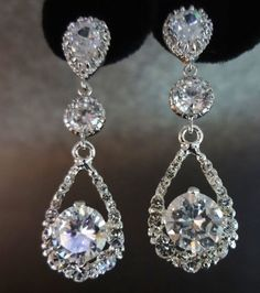 Chandelier earrings  Long  Rhinestone by QueenMeJewelryLLC on Etsy