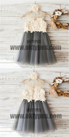 Top Lace Appliques Grey Tulle Sleeveless Cute Custom Flower Girl Dresses, Junior Bridesmaid Dresses, TYP0670 #flowergirldresses #flowergirl