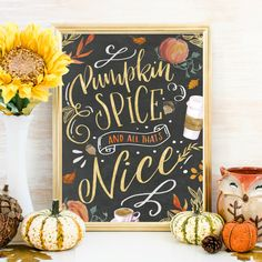 Pumpkin Spice Fall Wall Art, Fall Print Printable, Fall Decor, Fall Signs, Coffee Bar Thanksgiving D Happy Pumpkin, Pumpkin Spice, Pumpkin Art, Fall Chalkboard Art, Chalkboard Ideas, Chalkboard Signs, Halloween Chalkboard Art, Blackboard Wedding, Blackboard Art