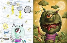 Monster Project  des dessins de monstres denfants revus par des artistes  Dessein de dessin