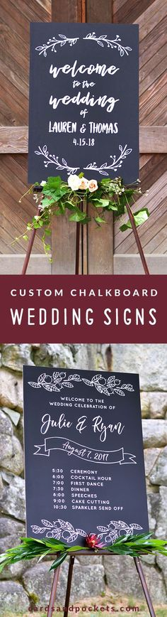 Chalkboard Wedding Signs - DIY decor for a rustic wedding. Add a welcome sign, wedding timeline, bible verse, or custom printed chalkboard sign to your ceremony or reception. Find yours at: http://www.cardsandpockets.com/custom-chalkboard-wedding-signs.aspx