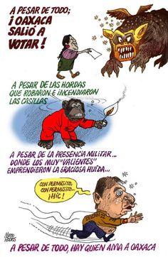 Caricaturista @marionoticias d periódico @noticiasnetmx compara con simios a quienes participaron en #BoicotElectoral