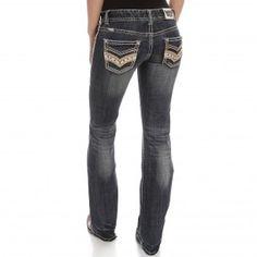 Rock & Roll Cowgirl Women's Rhinestone Low-Rise Boot Cut Jeans
