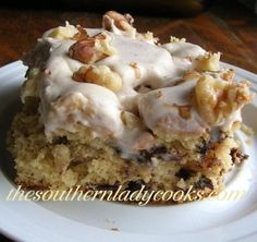 Butter Pecan Chocolate Chip Cake with Nutmeg Frosting. Wonderful for the fall of the year.