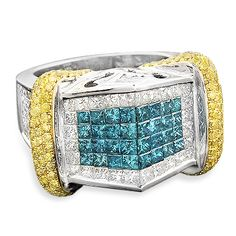 14k Gold Men's High-End Diamond Ring with Blue White and Yellow Diamonds 6.09 ctw