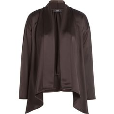 Steffen Schraut The Desert Cosy Draped Jacket (140 CAD) ❤ liked on Polyvore featuring outerwear, jackets, brown, satin jacket, brown jacket, steffen schraut, open front jacket and draped jacket