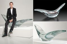 This glass chaise lounge looks lovely, but is it comfy? Glass Office, Office Interiors, Glass Art, Pottery, Sculpture, Contemporary, Architecture, Lounge, Comfy