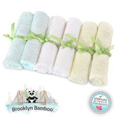"""Brooklyn Bamboo Baby Washcloth / Wipes 6 Pack Organic, SOFT, Larger 10""""x10"""" Size Use With Your Favorite Baby Bathing Skin Care Products And Children's Bath Towels. SOFTEST, Most Absorbent, Durable & Sustainable Washcloths On The Planet! Gentle Enough For Sensitive & Eczema Skin Perfect For Baby Registry And Gift Basket Sets. Adults Love Them Too! -   - http://babyentry.com/baby/gifts/brooklyn-bamboo-baby-washcloth-wipes-6-pack-organic-soft-larger-10x10-size-use-with-your-"""