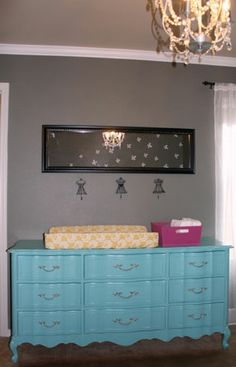 love the aqua dresser and little dress hooks