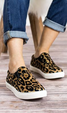 "We are in LOVE with our new Steve Madden Gill slip on sneaker in Leopard print. They have a velvet material upper with stretch gussets for that perfect fit and a 1.25"" platform. Rock your style with t"